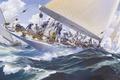Picture sea, Russ Kramer, wave, yacht, art