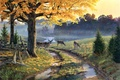 Picture A Bend in the Road, dirt road, painting, puddles, lake, deer, autumn leaves, autumn, Al ...