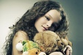 Picture photo, girl, bear, beautiful, plush toy, Pretty girlie