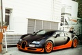 Picture veyron, Bugatti, supercar, supercar, Supersport, building, Veyron, Bugatti, supersport, black. orange, 16.4, house, black, orange