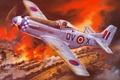 Picture radius, art, WW2, train, smoke, action, figure, Mustang, building, single, far, fire, warehouse, the engine, ...