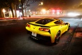 Picture night, the city, lights, excerpt, Corvette, Chevrolet, rear view, Coupe, Stingray