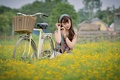 Picture field, girl, bike, face, Asian