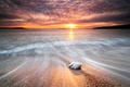 Picture threads, Shine, shore, excerpt, sea, wave, water, stone, the sun, the sky, track, stones, sunset