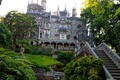 Picture ladder, Sintra, Quinta da Regaleira, architecture, garden, the bushes, Portugal, trees, Palace, grass