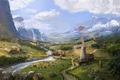 Picture landscape, cows, art, mill, the airship, farm, Jonathan Powell