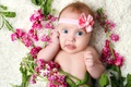 Picture flowers, flowers, the game, cute, child, child, play, smile, little girl, lovable, girl, happy, beautiful ...