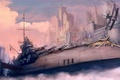 Picture weapons, fog, ship, soldiers, the plane, castle