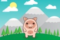 Picture pig, the sky, snow, mountains, forest, trees, clouds