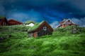 Picture the sky, grass, clouds, house, stones, slope, Denmark, Faroe Islands, Tórshavn