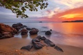 Picture mountains, tree, lake, clouds, the sky, rocks, stones, sunset