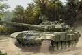 Picture gun, art, artist, tank, Russia, polygon, guns, exercises, Russian, T-90, NSVT, caliber, MBT, 125 mm, ...
