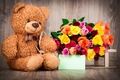 Picture gift, Valentine's Day, Teddy, love, roses, romantic, bear, love, heart, bear