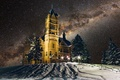 Picture snow, Syracuse University, Crouse College, winter, Syracuse, The Milky Way, New York, lights, United States, ...
