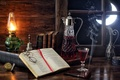 Picture notes, wine, the moon, smoke, watch, glass, lamp, tube, window, glasses, book, still life, bell, ...
