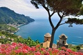 Picture sea, the sky, trees, flowers, mountains, Italy, Salerno, Ravello