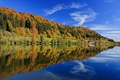 Picture colorful, reflection, Germany, trees, leaves, lake, blue, clouds, the sky, Bayern, autumn, forest