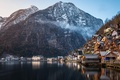 Picture Alps, mountains, Austria, nature, a monument of UNESCO, municipality, home, winter, lake, Hallstatt, forest