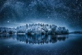 Picture the sky, trees, night, reflection, stars, Winterland