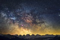 Picture winter, sky, Milky Way, mountains, snow, mystery, stars