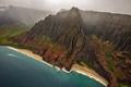 Picture sea, wave, beach, clouds, fog, shore, boat, United States, Kauai, Hawaii, Cathedrals, Nā Pali Coast