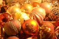 Picture balls, New Year, Christmas decorations, gold plated