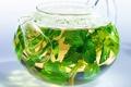 Picture kettle, leaves, tea