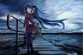 Picture the darkness, hatsune miku, bridge, cold, Vocaloid, school uniform, art, sea, girl, lighthouse, edogawakid, vocaloid