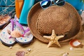 Picture hat, glasses, vacation, stay, marine, beach, beach, shell, sand, sand, summer, summer, still life