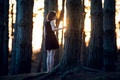 Picture girl, loneliness, forest