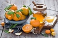 Picture peel, orange, winter, juice, citrus, leaves, tangerines, still life, fruit, Anna Verdina, honey, kumquat, dishes