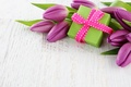 Picture flowers, flowers, tape, box, gift, bouquet, tulips, tulips, fresh