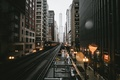 Picture the city, lights, glare, rain, the evening, Chicago, USA