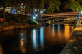 Picture light, night, bridge, river, Trikala