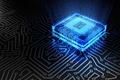 Picture macro, blue, chip, color, glow, fee, track, processor, hi-tech, bokeh, wallpaper., technology, processor, cyberspace, microchip