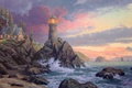 Picture wave, rock, house, the ocean, lighthouse, the evening, waves, rock, house, painting, ocean, sunset, art, ...