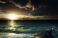 Picture sea, wave, the sky, foam, the sun, sunset, mountains, stones, Nature