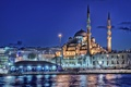 Picture the minaret, home, sea, lights, Istanbul, New mosque, night, Turkey