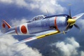 Picture aviation, ww2, painting, airplane, art, japanese fighter, Nakajima That-44 Shoki (Tojo), war