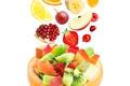 Picture apple, Apple, orange, kiwi, strawberry, grapes, fruit, banana, slices, grape, fruit, orange, strawberry, garnet, pomegranate