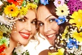 Picture girls, smile, flowers, Two