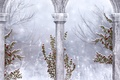 Picture Gothic, winter, icicles, snowflakes, ruins, columns