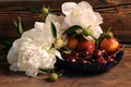 Picture flowers, berries, Board, bowl, fruit, cherry, peonies, nectarines