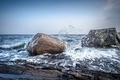 Picture sea, storm, Norway, the sky, rocks, stones, squirt