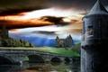Picture bridge, the sky, tower, stallion, Castle