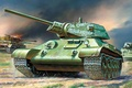 Picture average, attack, Soviet, art, burning, German, The great Patriotic war, average, tanks, T-34-76, figure, tank, ...