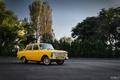 Picture machine, yellow, car, 412, Muscovite, AZLK, Mosa