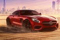 Picture Mercedes-Benz, Red, Dubai, Front, AMG, Supercar, Liberty, 2015, Walk, GT S