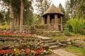 Picture flowers, Banff, garden, trees, the bushes, steps, Cascade Gardens, gazebo, Canada, track, stones