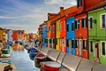 Picture boats, channel, paint, Italy, Burano island, Venice, home